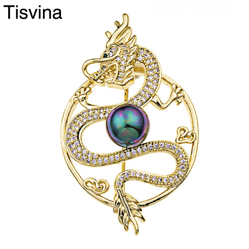 Tisvina Chinese dragon brooches for women men unisex with pearl and Inlaid Zircons Vintage classic jewelry pins Wedding Party