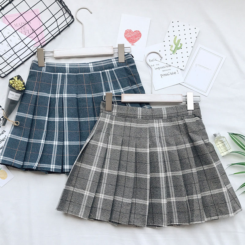 2018 New Women Mini Skirt High Waist Cotton Plaid Skirts Ulzzang A-line Pleated Skirts Lady Office Skirts #A034