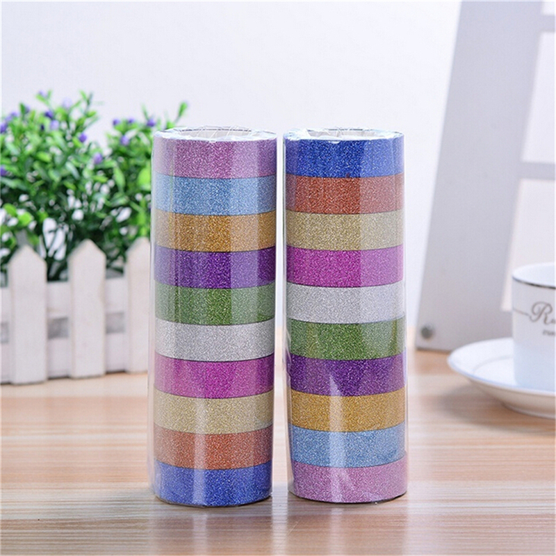 10 Rolls/lot 3M Glitter Washi Tape Sticker Paper Masking Adhesive Office School Tape Label Craft For DIY Decorative Random Color
