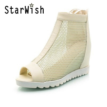 New Summer Ankle Boots For Women Fashion Cut-Outs Mesh Zip Snadals Ladies Peep Toe Wedge Heel Height Shoes Woman Plus Size 34-43