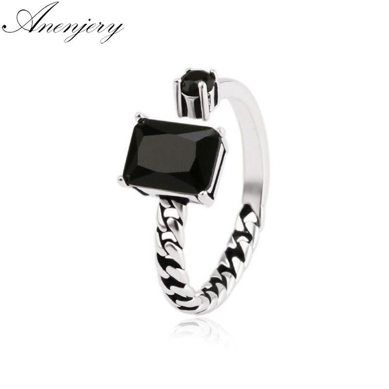 Anenjary Vintage negro gema asimétrica cadenas de apertura tailandés Color plateado anillo para las mujeres anel S-R76