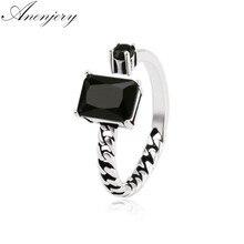 ANENJERY 925 Vintage de plata de Gema negro cadenas asimétricas apertura tailandés anillo de plata para las mujeres anel S-R76
