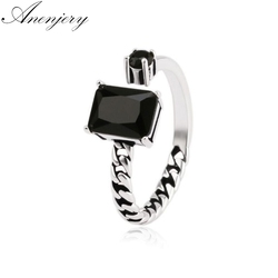 ANENJERY 925 Sterling Silver Vintage Black Gem Asymmetric Chains Opening Thai Silver Ring For Women anel S-R76