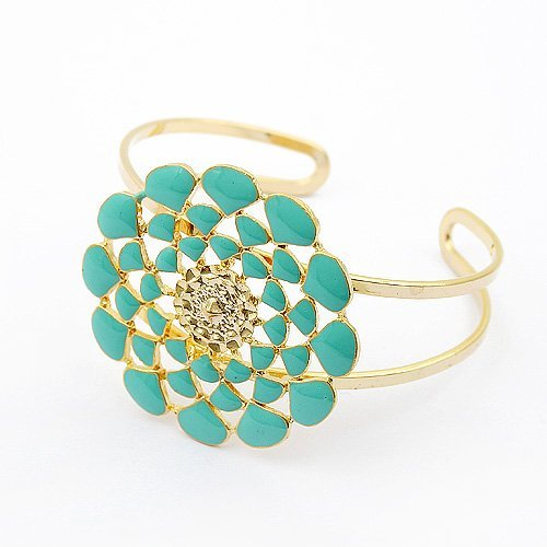 bracelet jewelry,guaranteed 100%, flowers rich bracelet,alloy lady's beautiful bracelet wholesale and retail(blue)A