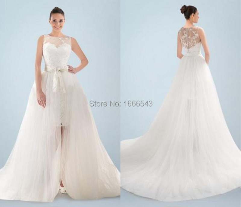 The Knot Wedding Gowns: Detachable Skirt Wedding Dresses With Bow Knot Belt Sheer