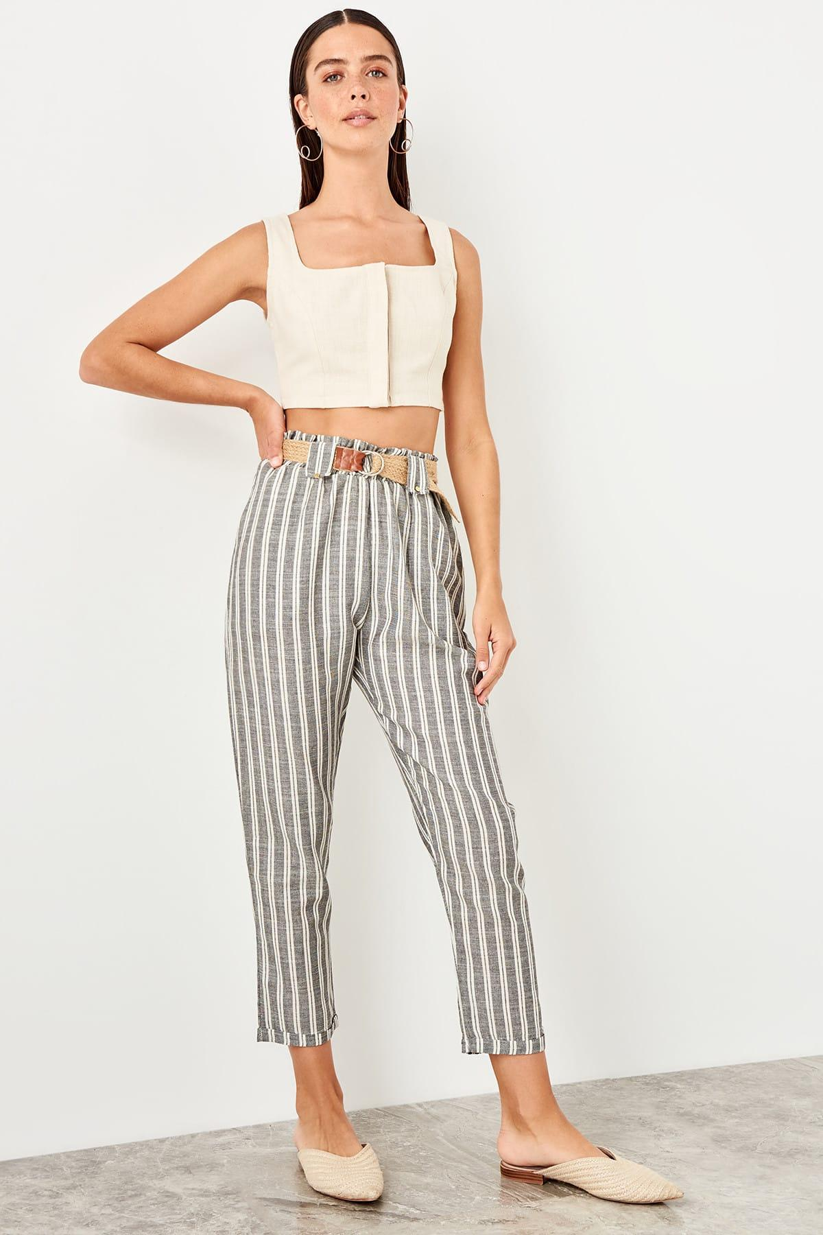 Trendyol Gray Wicker Kemerli Pants TWOSS19IS0076