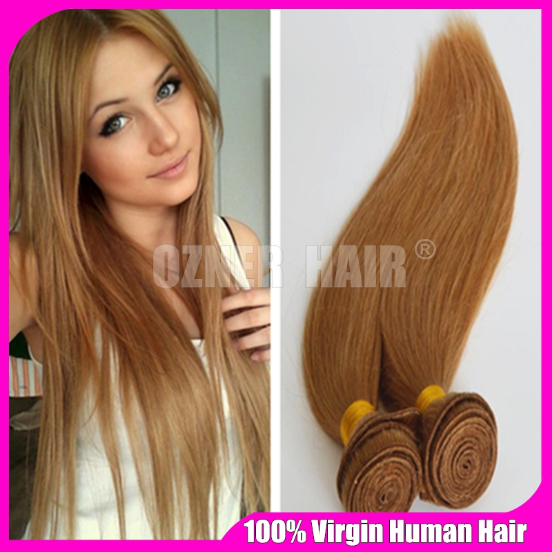 Malaysian Blonde Silky Straight Hair Extensions 3pcs Lot Honey