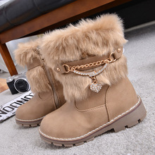 Winter Korean Fashion Girls Boots High Quality Rabbit Fur Children Boots Plush Warm Non-slip Snow Boots For Kids KS234