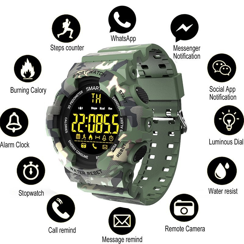 COXRY sport military watch men smart digital pedometer watch LED stopwatch smartwatch sports watches for running android IOS цена и фото