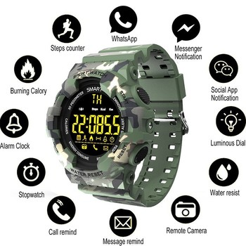 COXRY sport military watch men smart digital pedometer watch LED stopwatch smartwatch sports watches for running android IOS