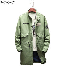 YASUGUOJI new 2018 autumn fashion single breasted long jacket men stand collar plus size cotton