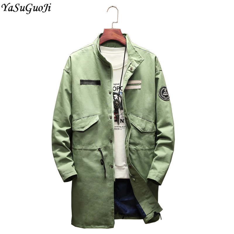 YASUGUOJI New 2018 Autumn Fashion Single Breasted Long Jacket Men Stand Collar Plus Size Cotton Trench Coat Men Men Cape FY7