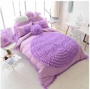 Lace Flower design Princess bedding bedspread set girls bedclothes wedding decoration duvet cover Bed sheet pillowcases Cotton