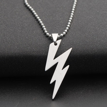 Stainless Steel Flash Lightning Symbol Sign Necklace Movie Character Superhero Natural Weather