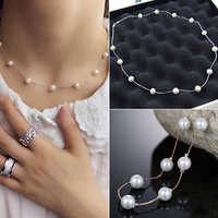 2015 Hot Fashion Charm Jewelry Pendant Chain Faux Pearl Choker Short Necklace