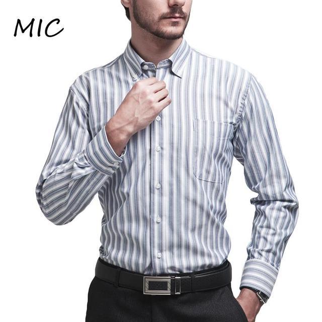 3c1fff40ab Mens brand shirts Long sleeve Oxford stripes button down dress shirt men  Easy care casusl business shirts man cotton large size