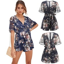 New spring summer European and American fashion popular sexy chiffon beach loose wide leg ladies jumpsuit