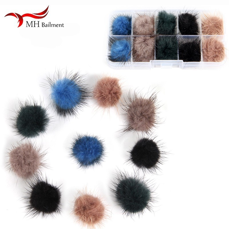 Mink Real Fur Accessories Fashion New 100% Mink Fur Brooch DIY Furry Women Jewelry  Feminino Gifts For Women A Pack Of 10  V3