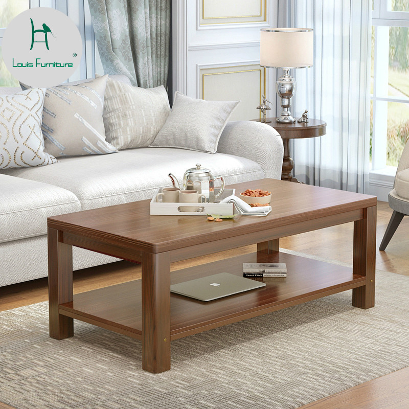 Us 185 0 Louis Fashion Simple Wooden Tea Living Room Storage Small Apartment Double Decked Coffee Table Rectangular Modern In Tables From