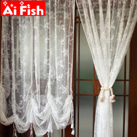 Romantic White Dream Lace Bedroom Bay Window Roman Window Drapes Curtain Rod Pull Balloon Curtains For Living Room A19#40