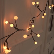2.5M 72Leds LED Black Rattan String Lighting Fairy Lights For Wedding Holiday Christmas Outdoor Decoration