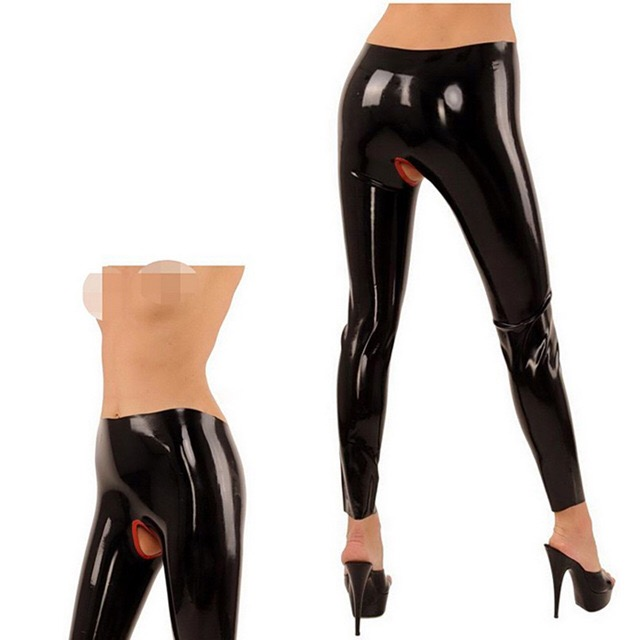 top pants latex open rubber with