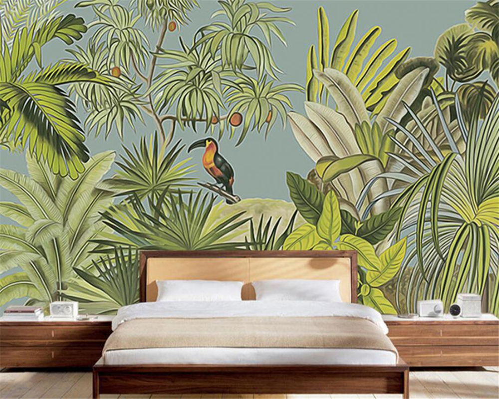 Beibehang 3D Wallpaper Retro Tropical Rainforest Parrot Palm Leaf Living Room TV Background Wall Murals wallpaper for walls 3 d beibehang american retro wallpaper roll desktop living room 3d wall paper home decor tv background green wallpaper for walls 3 d