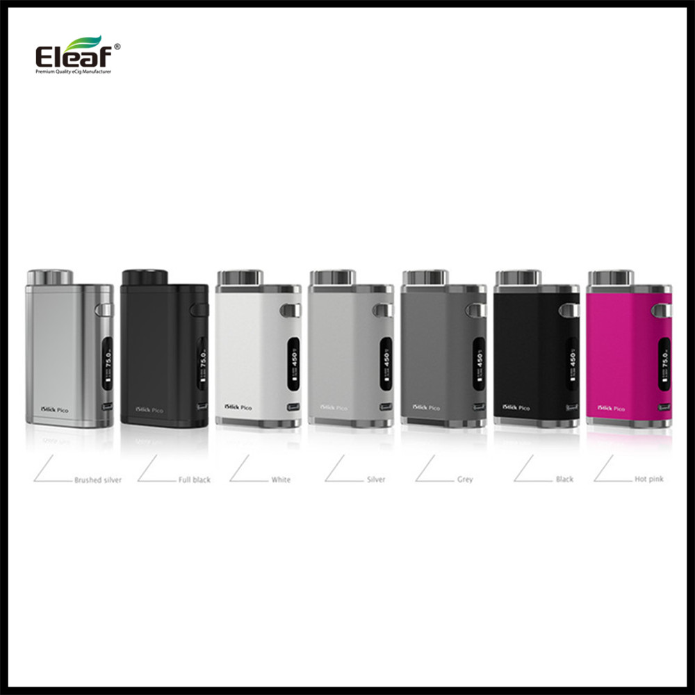 Eleaf iStick Pico 75w Battery Powered by 1pc 18650 Battery Compact Size Pico Box Mod VS Target Pro 75W Vape Kit Original Ones original lost vape therion bf dna75 75w battery cover