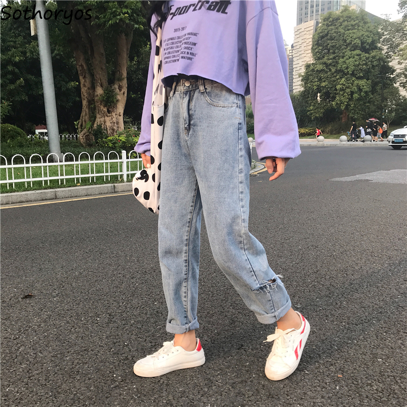 Jeans   Women Hole Trendy Harajuku Harem Trousers Students Leisure Womens Korean Style High Quality Pockets Female Long Zipper