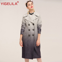 YIGELILA 9476 Latest Autumn New Women Fashion Grey Gradient Double Breasted Slim Long Suede Coat