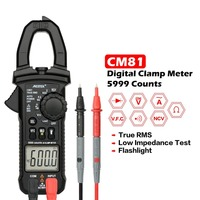 MESTEK CM81 Digital Clamp Meter True RMS Multimeter 5999 Counts AC/DC Volt Amp Ohm LowZ NCV Diode Tester with Flashlight