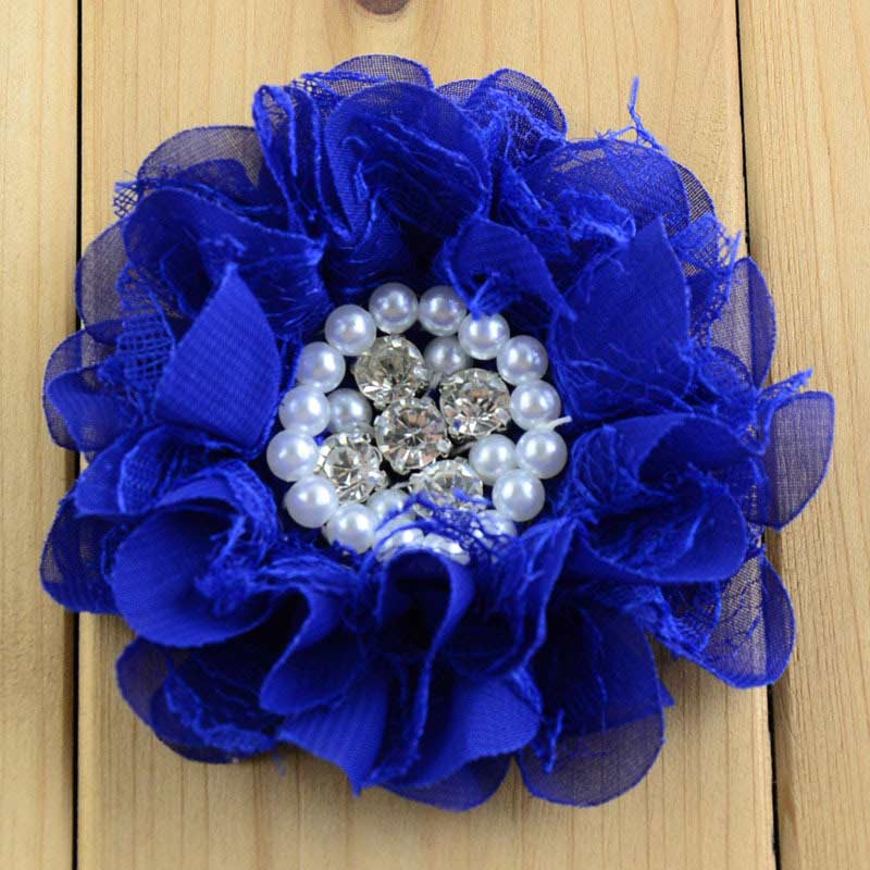 16 Color Diy Crafts Vintage Tulle Chiffon Lace Fabric Flower With Pearl Rhinestone Embellishments Size