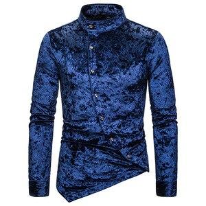 Image 3 - Modne koszule męskie sukienka nieregularna aksamitna koszulka z długim rękawem Homme męskie dorywczo jednokolorowe Slim Fit koszule na przyjęcia towarzyskie Streetwear