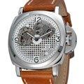 Мужские автоматические наручные часы OUYAWEI  механические часы с кожаным ремешком  мужские наручные часы