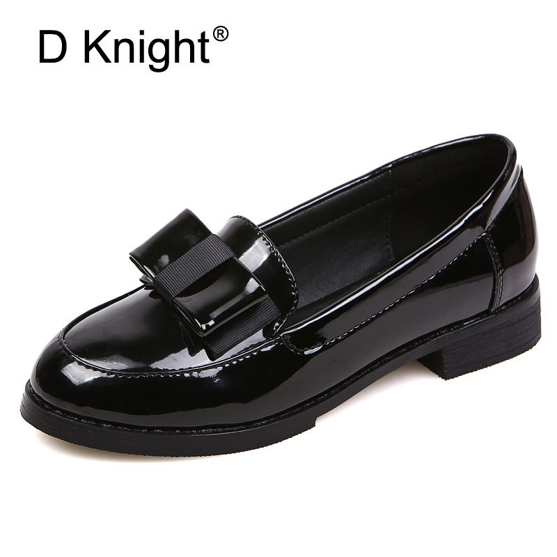 Fashion Patent Leather  Bow Slip-on Women Loafers Ladies Casual Flat Oxford Shoes Soft Oxfords For Women Size 34-43 Shoes Woman