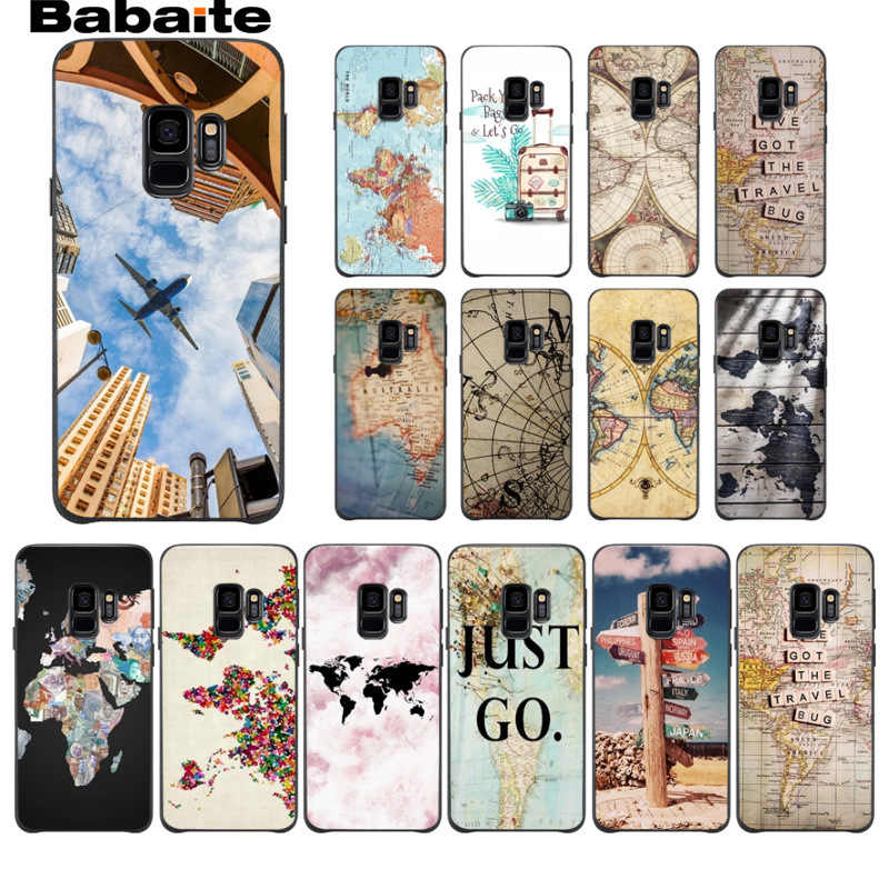 Travel in the world map plans Phone Case cover Shell For Samsung Galaxy s9 s8 plus note 8 note9 s7 s6edge Mobile Cases Babaite