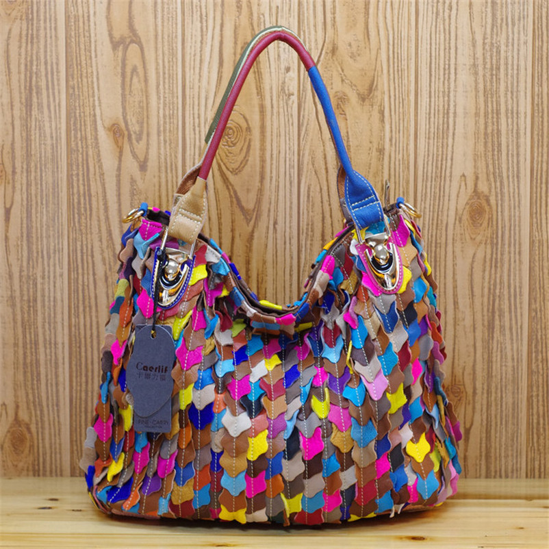 Caerlif Top-handle bags Bolsas tote bag Genuine Leather Handbag Women handbags Colorful fish scale bag female Shoulder Bags caerlif brand genuine leather bag colorful stripe weave vintage national wind shoulder bags female bag women messenger bags