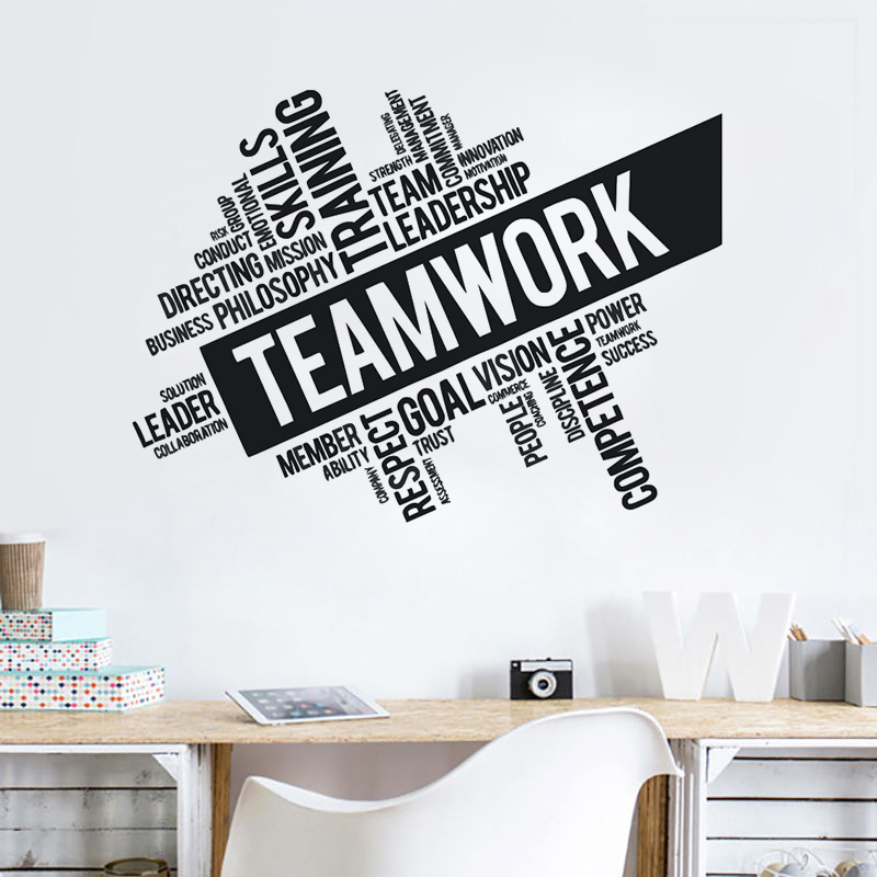 teamwork words wall sticker office space team inspirational quote