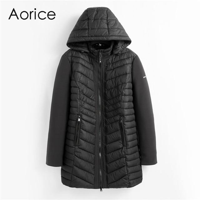 Aorice QY902 phụ nữ bông Parka mùa đông người phụ nữ dài giản dị áo khoác màu rắn đội mũ trùm đầu áo khoác và áo khoác mùa xuân mùa thu ấm áp outwear