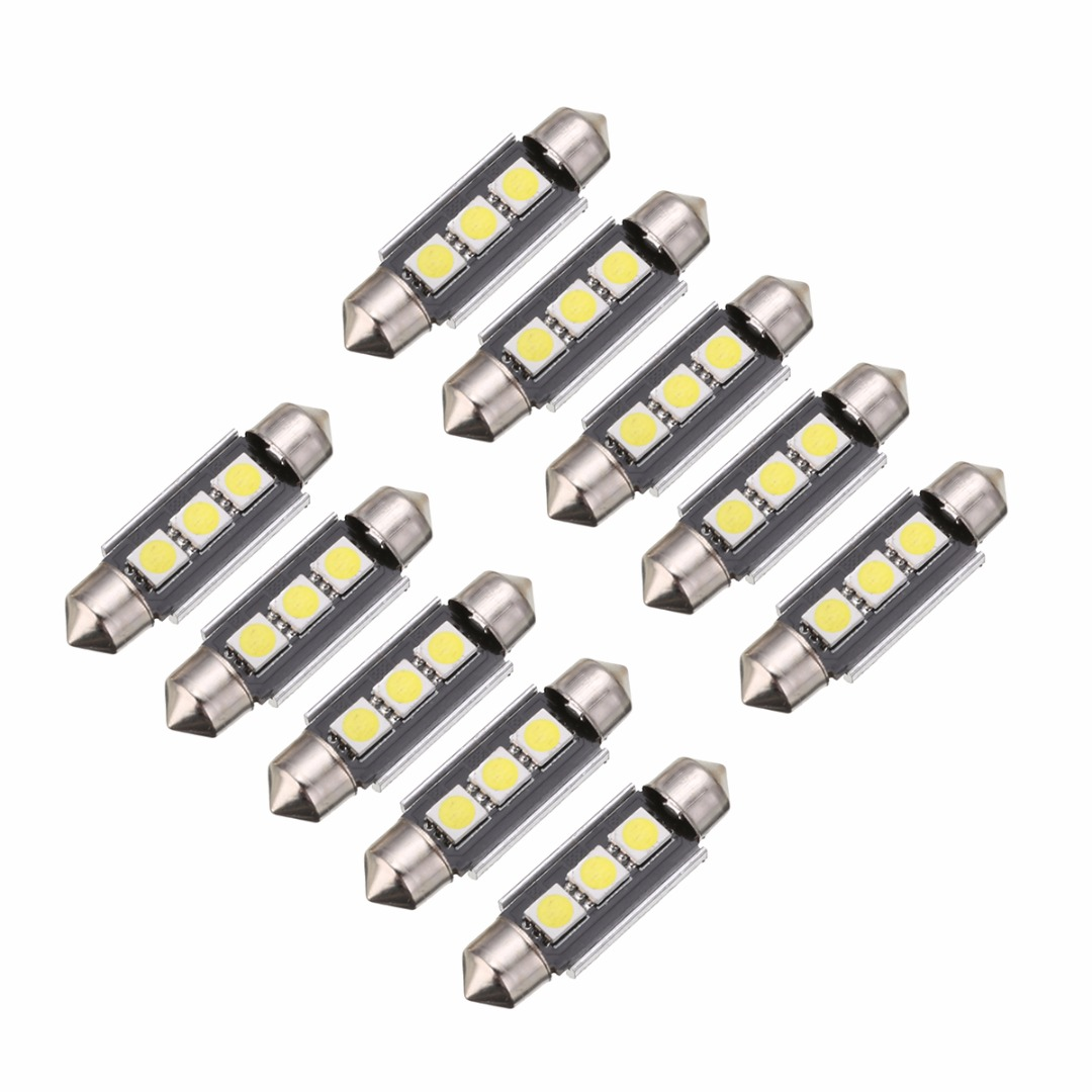 10pcs 39mm 5050 3LED Canbus Error Free Car Interior Festoon Light Bulb Car Interior Doom Lamp Bulb Trunk light