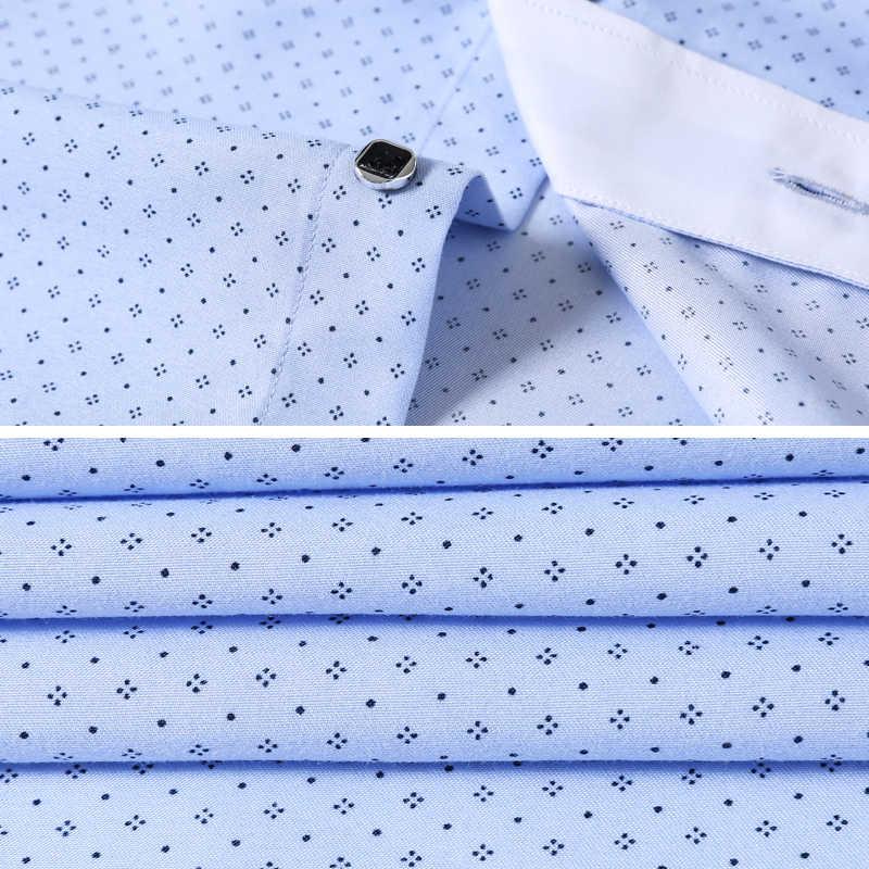 2018 ブランドブループリントドレス長袖ビッグサイズコーマ綿カジュアルシャツ男性フォーマルドレスシャツメンズ服