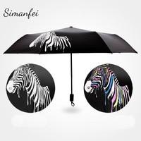 Simanfei Magic Change Color Zebra Umbrella 2017 New Three Folding Anti UV Windproof Umbrella Black Adhesive