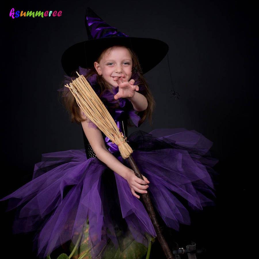 Kids Halloween Tutu Dress Fun Girls Fluffy Tutu Witch Dress Costume with Hat Purple Black Dress for Party Dress up vintage lace insert halloween pin up dress