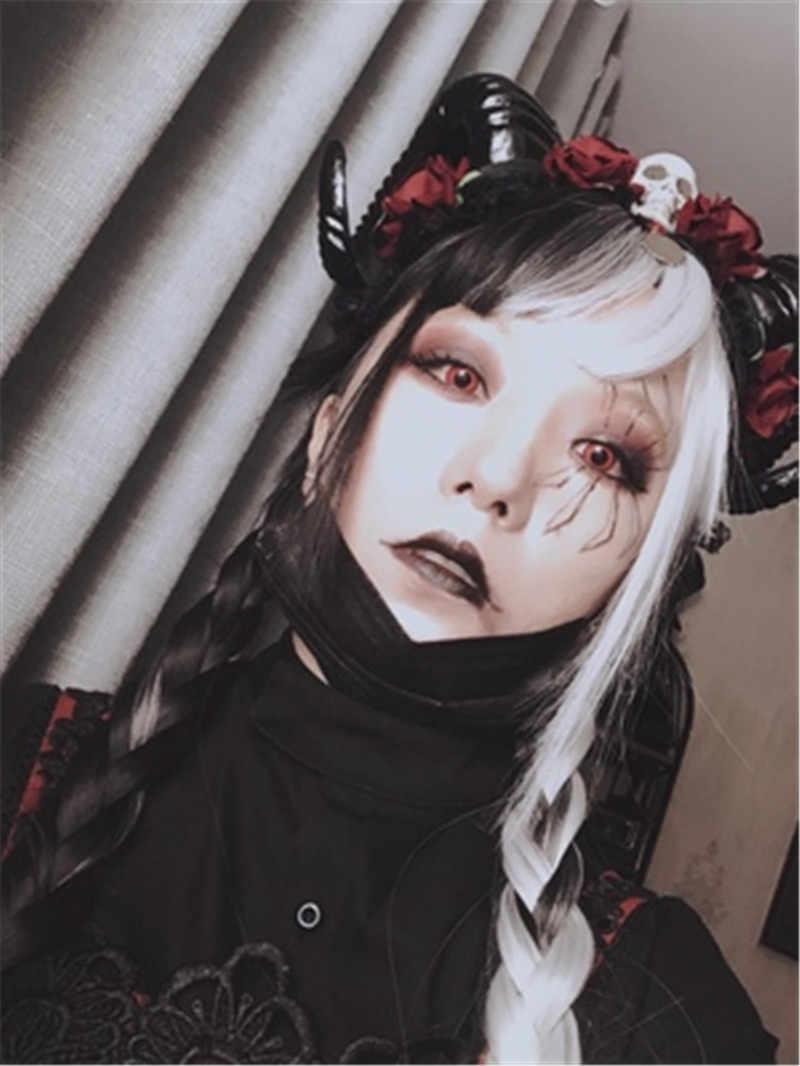 50116cf2d ... Unique Girls Halloween Stereo Devil Horns Skull Headband Gothic Sheep  Horn Flowers Headdress Hairband with Veil