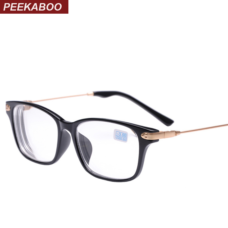 Peekaboo ახალი ბრენდის მაღალი ხარისხის იაფი რეცეპტი სათვალეები მამაკაცის სტუდენტი -2 -1.5 ფასდაკლებით მიოპიის სათვალეები ქალები მინუს შავი