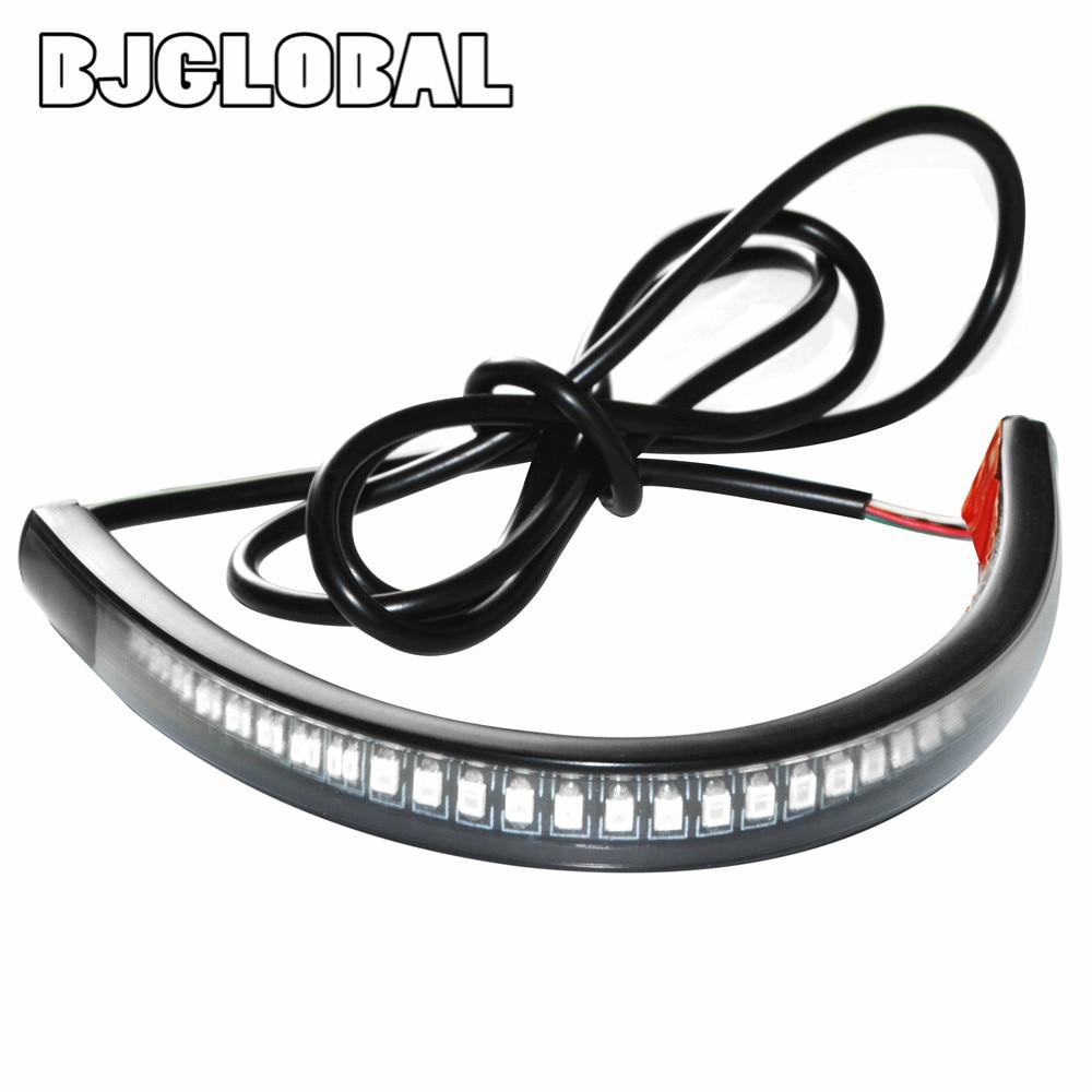 New Universal Flexible LED Motorcycle Brake Lights Turn Signal Light Strip 48 Leds License Plate Light