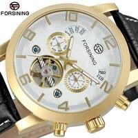 Forsining Tourbillion Black Gold Wave Dial Fashion Casual Design Men Watch Top Brand Mechanical Automatic Wrist