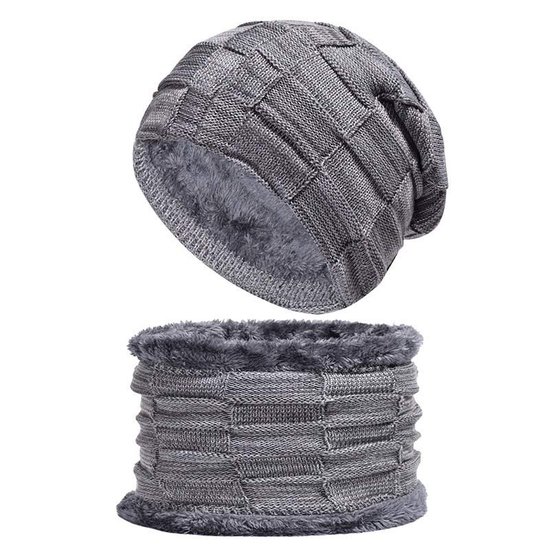 Winter Lined Fleece Set Hat And Snood Scarf Neck Warmer Knitted Plaid Balaclava Hood Grey Black Brown
