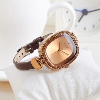 Top Lady damski Zegarek Japonia Quartz Godziny Dzieła Moda Sukienka Bransoletka Skóra Rhinestone Dziewczyna Elegancki Prezent Urodzinowy Julius