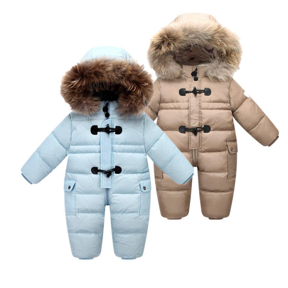 Diseñado para el invierno ruso del bebé traje para la nieve, 90% pato abajo chaqueta para niñas abrigos de invierno Parque Infantil Niño snowsuit nieve desgaste